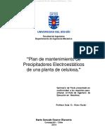 Plan de mantenimiento de Precipitadores Electrostáticos de una planta de celulosa