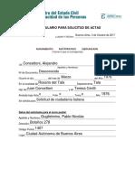 Formulario para solicitud de actas