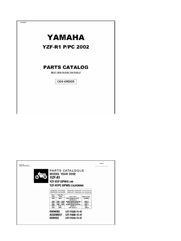 Yamaha YZF-R1 2002 Microfiche