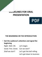Guidelines for Oral Presentation