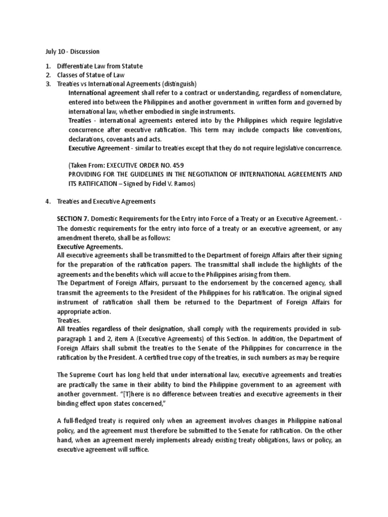 Civil Code Provisions Treaty Ratification