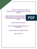 Solución Para Un Reto de Implementación de La Reforma Energética. Fernando Sosa Teobal.