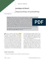 Figueroa, G (2008) – La Psicología Fenomenológica de Husserl y La Psicopatología.