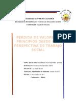 La Pérdida de Valores Desde Una Perspectiva de Trabajo Social Modalidades de Titulacion 2017
