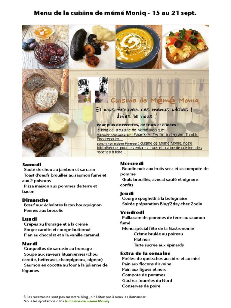 Menu De La Cuisine De Meme Moniq 15 Au 21 Septembre Cuisine