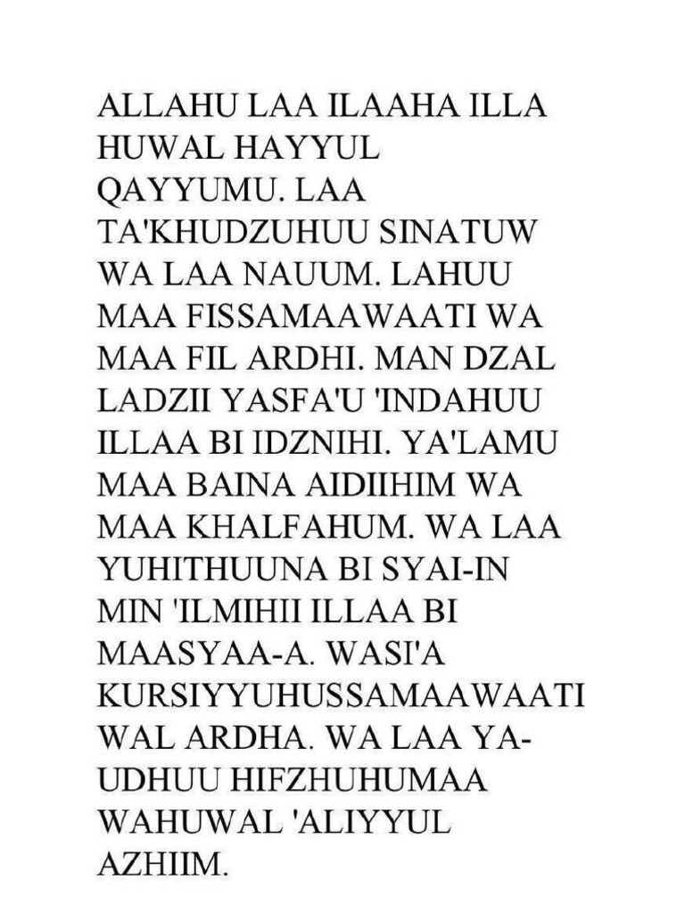 Ayat Kursi Rumi Dan Arab