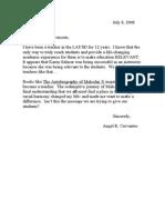 Karen Salazar letter - Angel R. Cervantes