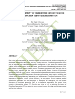 OPTIMAL PLACEMENT OF DISTRIBUTED GENERATION FOR LOSS REDUCTION IN DISTRIBUTION SYSTEM