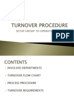 Turn-over (Setup to Ops) Procedure