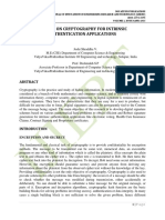 STUDY ON CRYPTOGRAPHY FOR INTRINSIC AUTHENTICATION APPLICATION