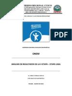 Analisis y Estudio de Los Resultados de La Prueba Onem Etapa Ugel 2018