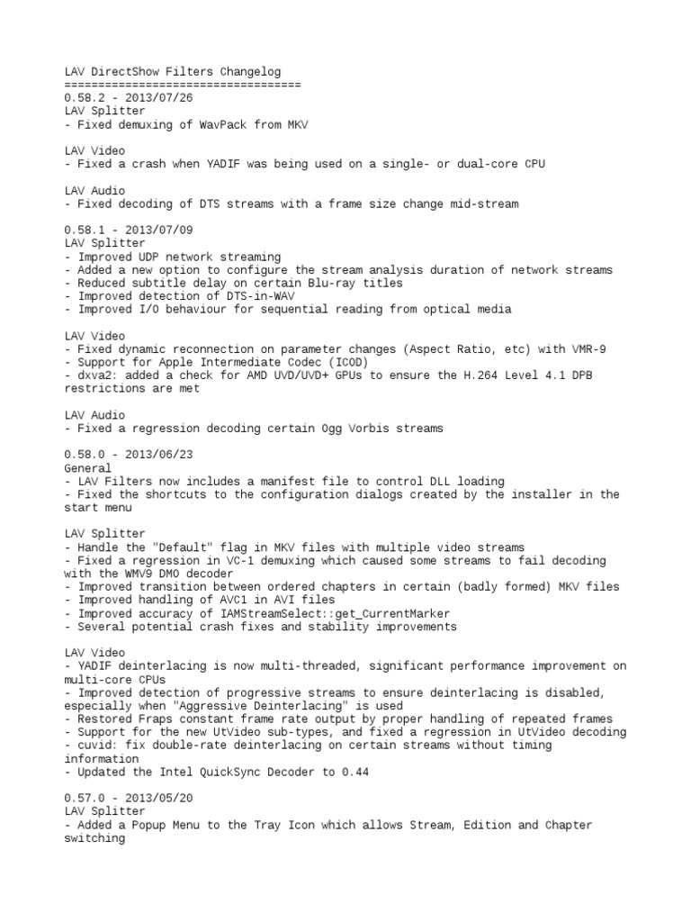 CHANGELOG txt | Codec | H 264/Mpeg 4 Avc