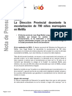 La Dirección Provincial desmiente la escolarización de 700 niños marroquíes en Melilla