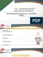 2018-3-5 QUINTA SEMANA_Herramientas de Planeación_La Matriz FODA