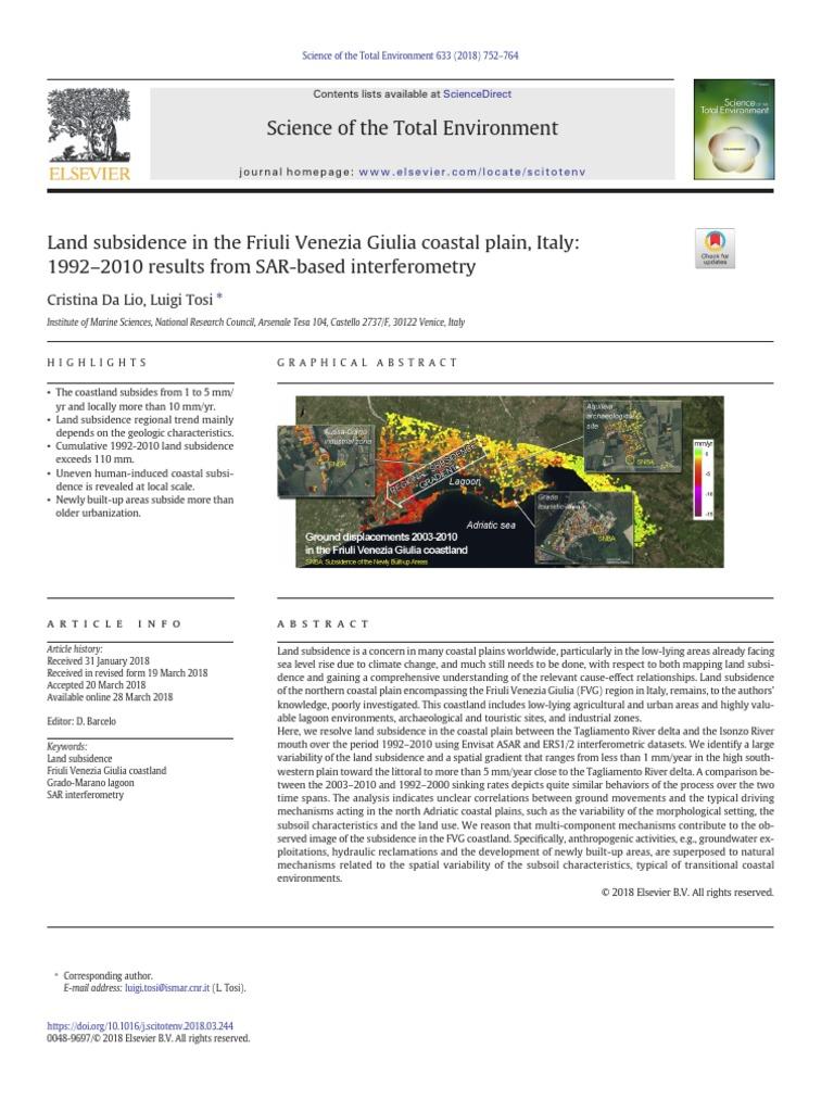 Dynamics Isola Della Scala land subsidence in the friuli venezia giulia coastal plain