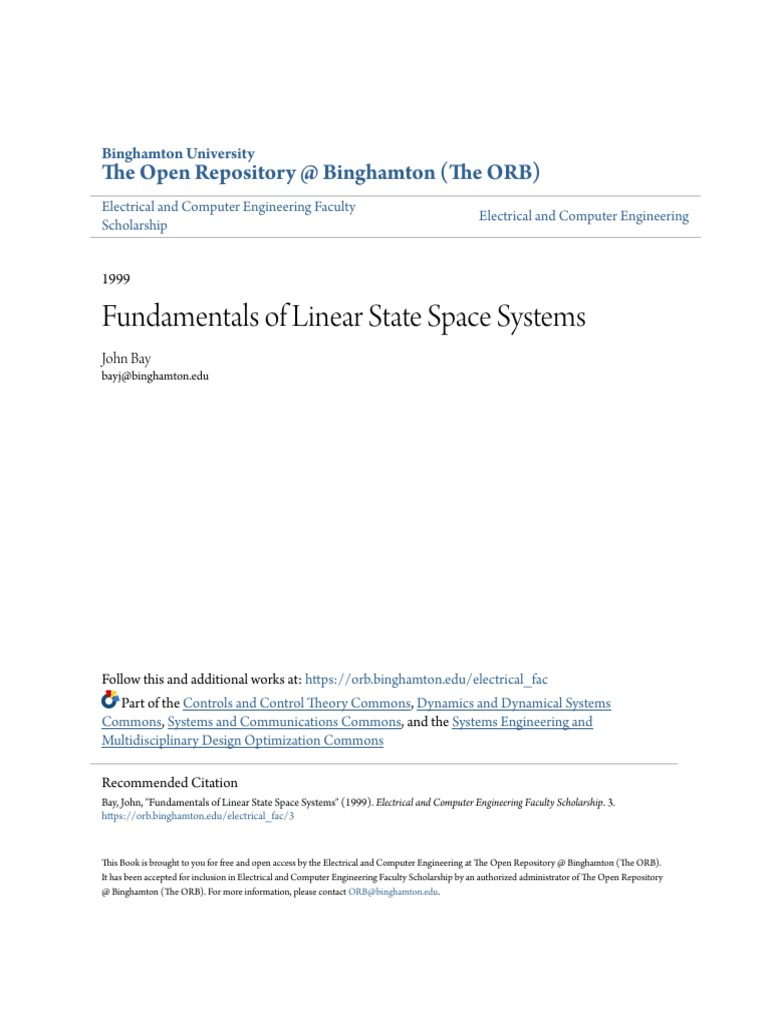 Fundamentals of Linear State Space Systems pdf | Linear Algebra