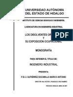 Los Disolventes Organicos y Su Exposicion Ocupacional