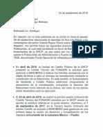 Aclaracioěn Nota de Ana Lilia Peěrez-Aristeguinoticias