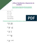 Ejercicio sobre ED por Sustitución y Separación de variables