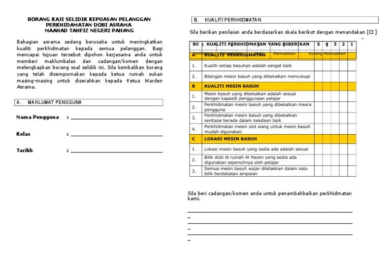 Borang Soal Selidik Kepuasan Pelanggan Perkhidmatan Dobi Asrama Banat