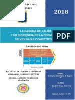Cadena de Valor y Su Incidencia en La Formación de Ventajas Competitivas.