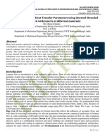 Experimental Study of Heat Transfer Parameters using internal threaded pipe fitted with inserts of different materials