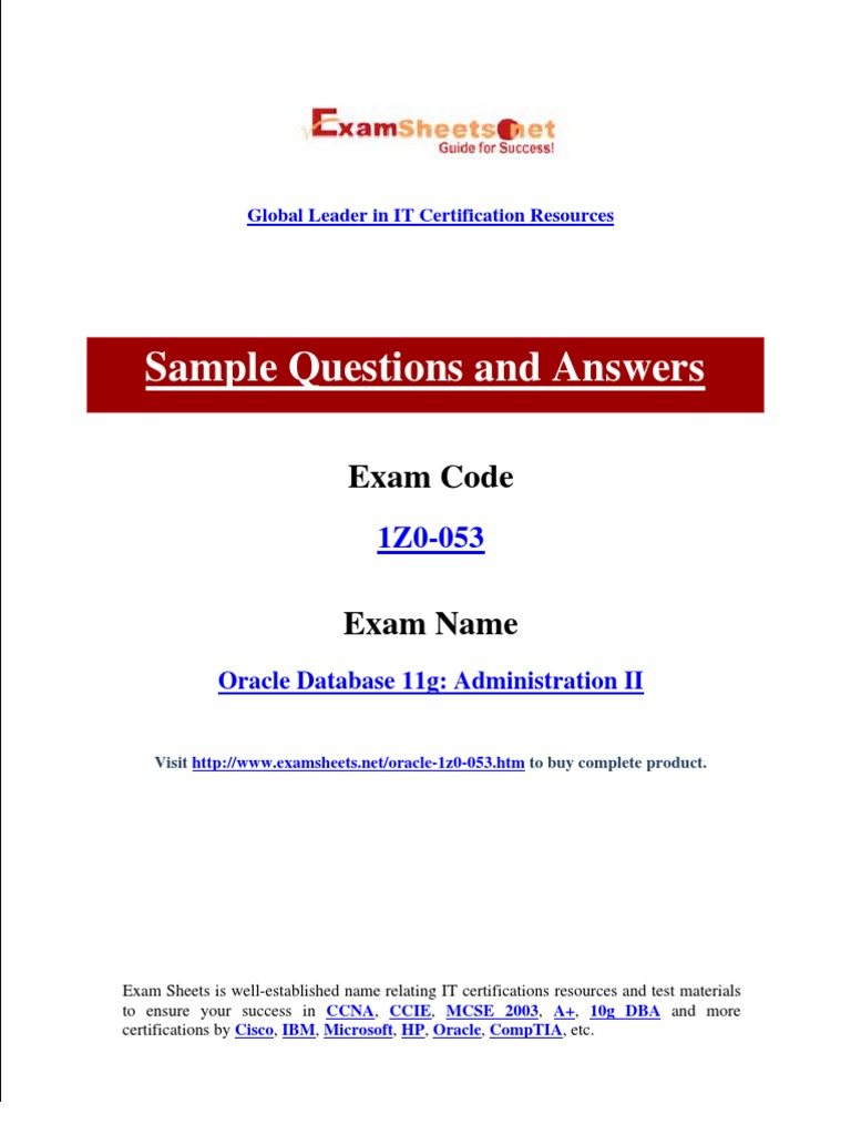 Oracle Exams Of 1z0 053 Oracle Database 11g Administration Ii