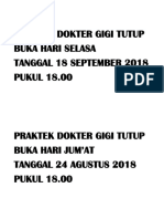 Praktek Dokter Gigi Tutup