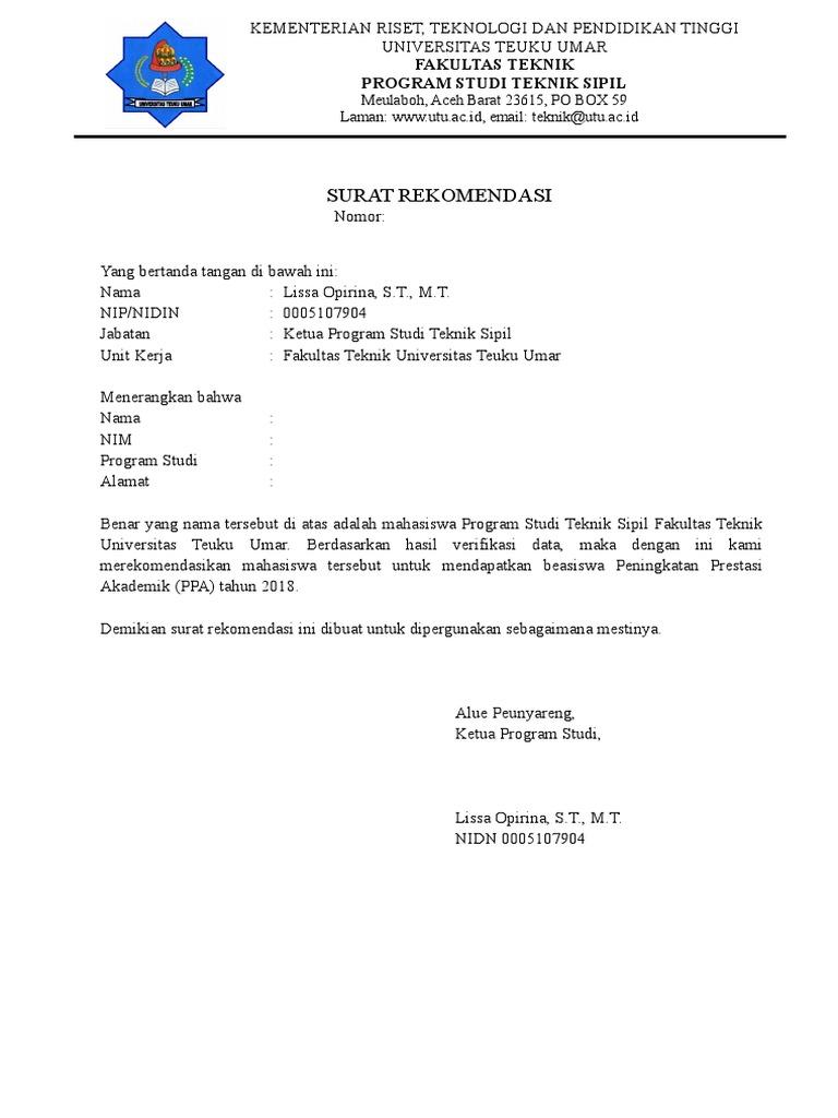 Surat Rekomendasi Beasiswa Ppa 2018