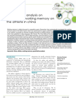 Quantitative Analysis on Literature of Working Memory on the Athlete in China (1)