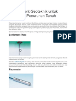 3 Instrument Geoteknik Untuk Mengukur Penurunan Tanah