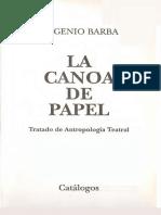 Eugenio Barba - La Canoa de Papel - El Entrenamiento del Actor