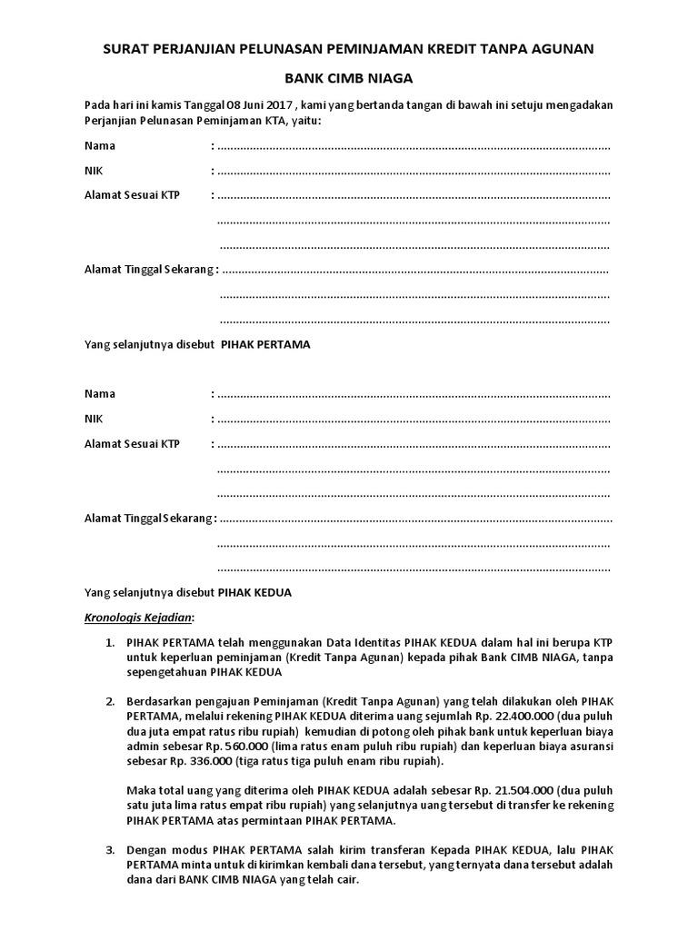 Surat Perjanjian Hutang Piutang Versi 2