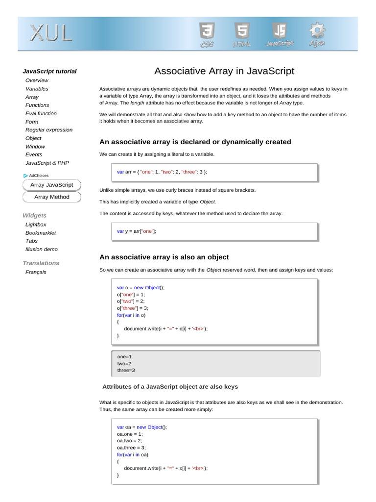 associative array objects pdf | Java Script | Variável