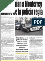 25-09-18 Regresarían a Monterrey mando de la policía regia