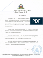 Nota de prensa de la Embajada de Haití