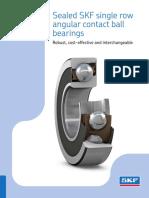 Sealed SKF Single Row Angular Contact Ball Bearings