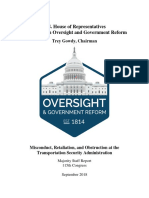 House Oversight Committee Report on TSA Misconduct