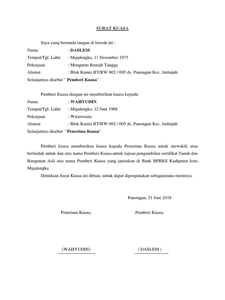 Contoh Surat Kuasa Pengambilan Sertifikat Tanah Pdf ...