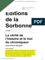 MOEGLIN, Jean-Marie - La Vérité de l'Histoire Et Le Moi Du Chroniqueur