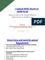 Steps on How to Re Upload Waec Result to Jamb Portal Website