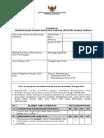 Formulir Pemeriksaan Sarana Produksi Pangan Industri Rumah Tangga