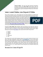 Situs Casino Online Asia Deposit 25 Ribu