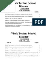 Class Test Chemistry 2017-18
