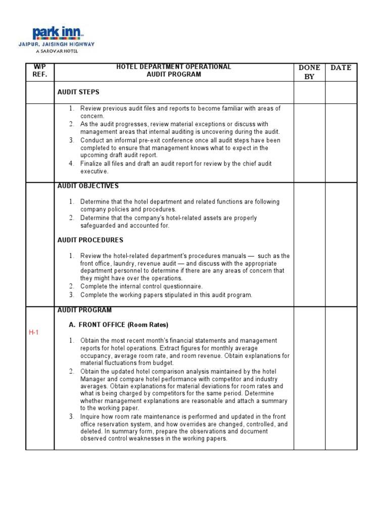 hotel audit program rr fixed 1 cheque audit rh scribd com Hotel Front Desk Log Book Hotel Front Desk Registration Bucket
