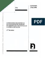 Covenin 2742-1998..ERGONOMIA en Puestos de Trab Con Pantallas Catodicas de Datos