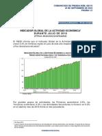 Indicador Global de la Actividad Económica durante julio de 2018 (Cifras desestacionalizadas)