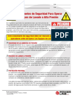 Power Washer Safety Guidelines Spanish