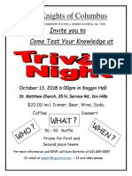 Trivia Night Poster With Address