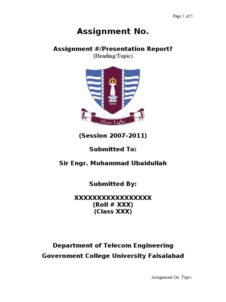 cover page college